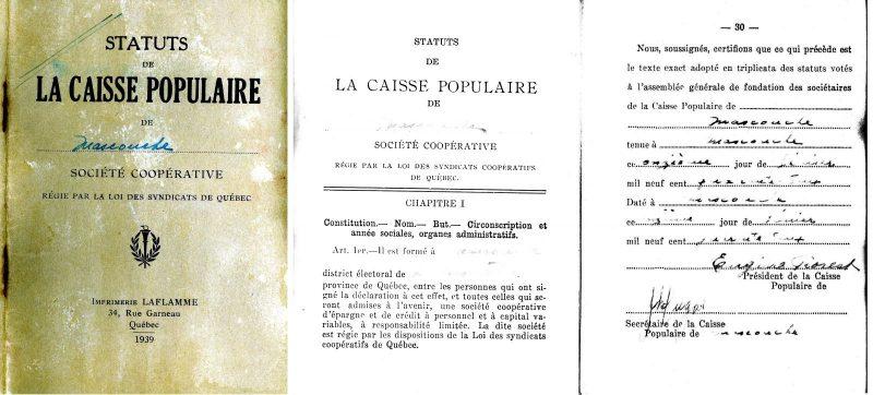 Extrait des statuts de la Caisse populaire de Mascouche signés lors de sa fondation par Eugène Forest et Joseph Dugas, président et secrétaire, le 11 février 1942. Collection Simone Patenaude-Boivin